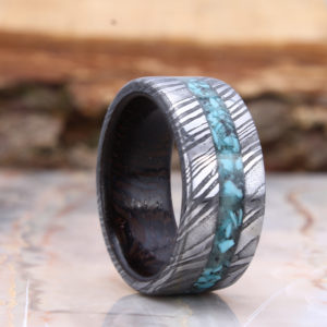 mens damascus wood glow ring